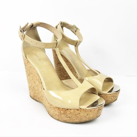 443928795 Jimmy Choo Shoes - Jimmy Choo Nude  Pela  Cork Wedge Sandal size 9